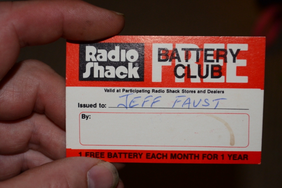 My Radio Shack Free Battery Club card, circa 1982.