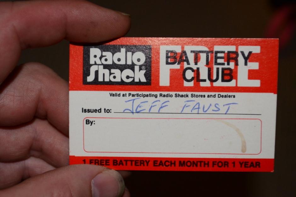 My Radio Shack Free Battery Club card, circa 1982.